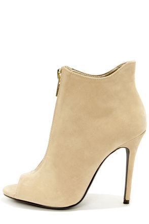 Cute Nude Shoes - High Heel Boots - Peep Toe Booties - $39.00