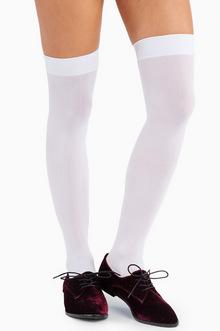 Opaque Nylon Thigh Highs - TOBI