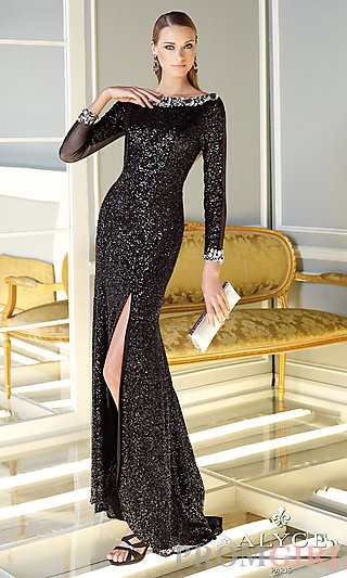 Prom Dresses, Celebrity Dresses, Sexy Evening Gowns - PromGirl: Long Sleeve High Neck Sequin Dress