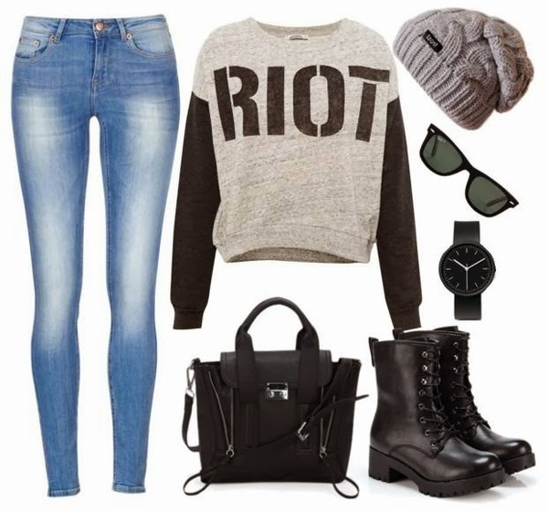 bag ootd fashion top jeans shoes hat sweater