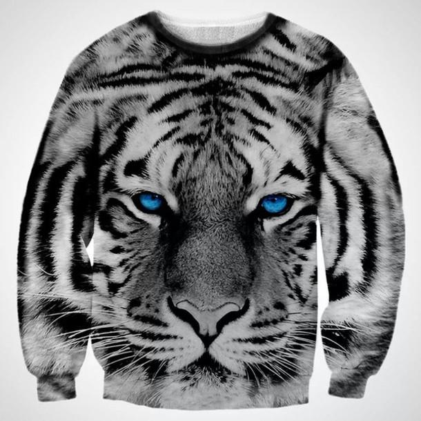 sweater black sweater white tiger blue eyes
