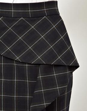 ASOS | ASOS Pencil Skirt with Ruffle Front in Plaid  at ASOS