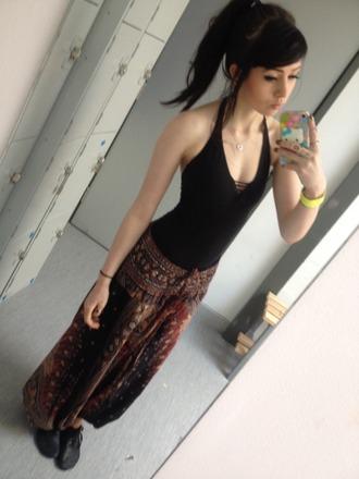 pants brown navy black indie hipster baggy hippie pajamas baggy pants sweatpants vest pale brunette bottoms jeans
