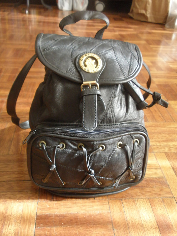 Unique vintage Leather Bagpack  Bag black by ChicUtopia on Etsy