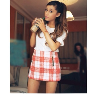 skirt ariana grande vintage red and white checked shirt t-shirt dress plaid skirt orange skirt white blouse