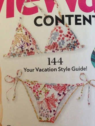 swimwear bikini two-piece floral swimwear pattern pink red yellow colorful peacock trees bows magazin summer outfits cute vacatin style