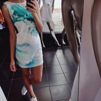 dress mini dress summer waves sea