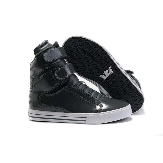 Women Black Anthracite Leather High Top Supras Tk Society