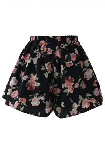 Rose Print Shorts in Black  - Retro, Indie and Unique Fashion