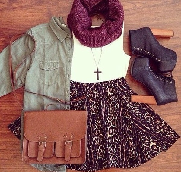 skirt leopard print jacket shoes bag scarf