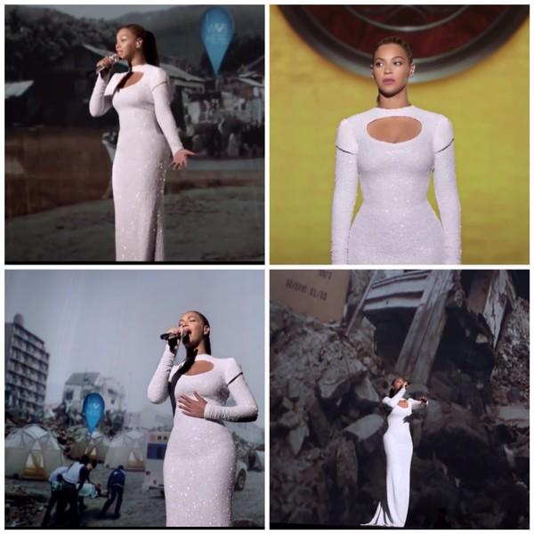 dress white beyonce united nations pailletés sequins cut-out
