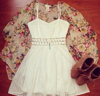dress white dress fashion floral cardigan floral cardigan shoes high heels jewels cute white flower power kimono style cover up blouse floral kimono white lace dress bright sundress cute dress sleeveless summer dress lace dress spaghetti strap kimono white lace center