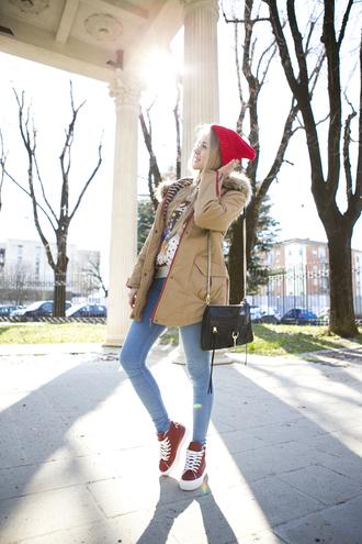 cablook coat hat sweater jeans