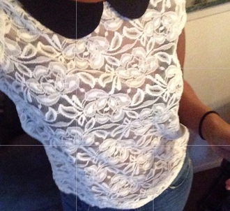 blouse lace white floral print textured top