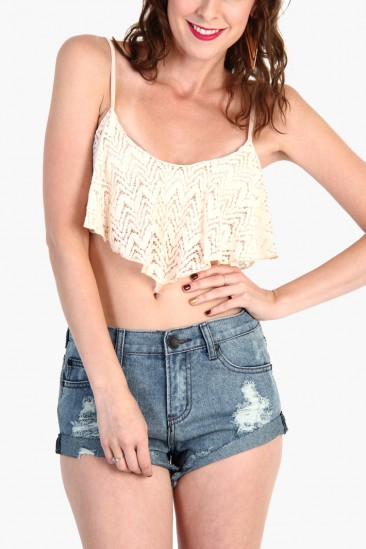LoveMelrose.com From Harry & Molly | Lace Ruffle Crop Tops - Cream