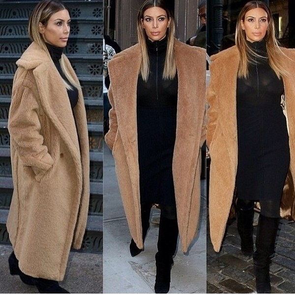 coat camel coat longline coat kim kardashian fashion hooded fall outfits winter coat fluffy