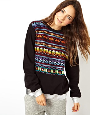 ASOS   ASOS Sweatshirt with Embroidered Panel and Foil Rib at ASOS
