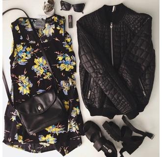 jacket outfit black leather shoes bomber jacket snake skin skin floral urban street streetwear black jacket top leather jacket sunglasses topshop bag heels black heels quilted quilt