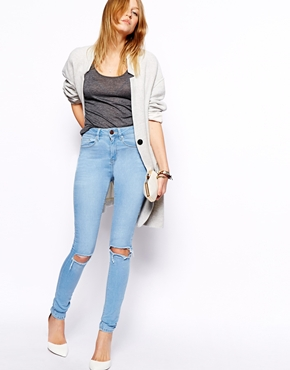 ASOS | ASOS Ridley High Waist Ultra Skinny Jeans in Watercolour Light Wash Blue with Busted Knees at ASOS