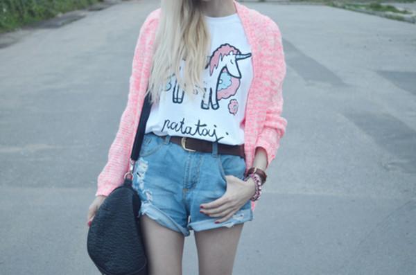 t-shirt jacket unicorn shorts