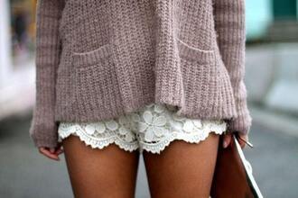 shorts lace crochet white sweater oversized sweater fuzzy sweater pants white lace shorts beige sweater white shorts flowered shorts light brown
