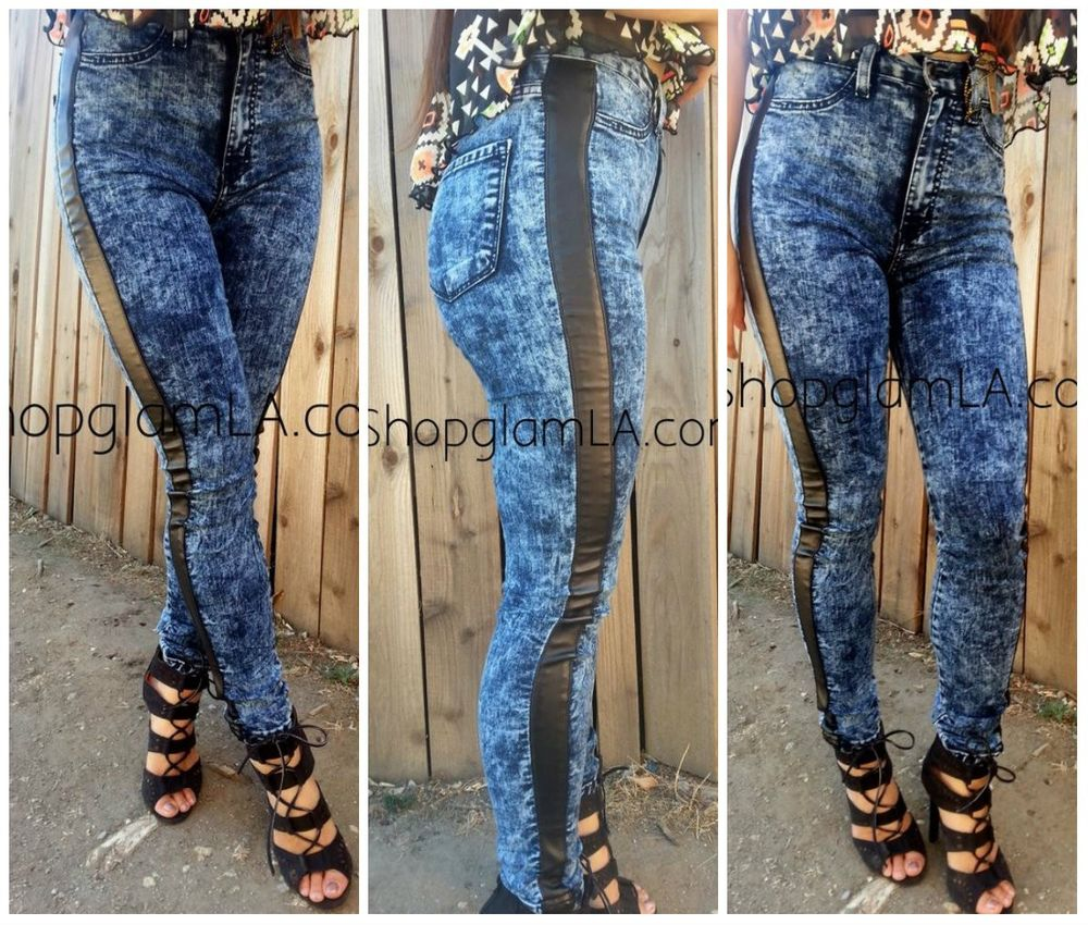 High Waist Acid Wash Faux Leather Tuxedo Striped Skinny Jeans Pants P324 5 | eBay