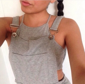 jumpsuit grey cute girl girly silver overalls