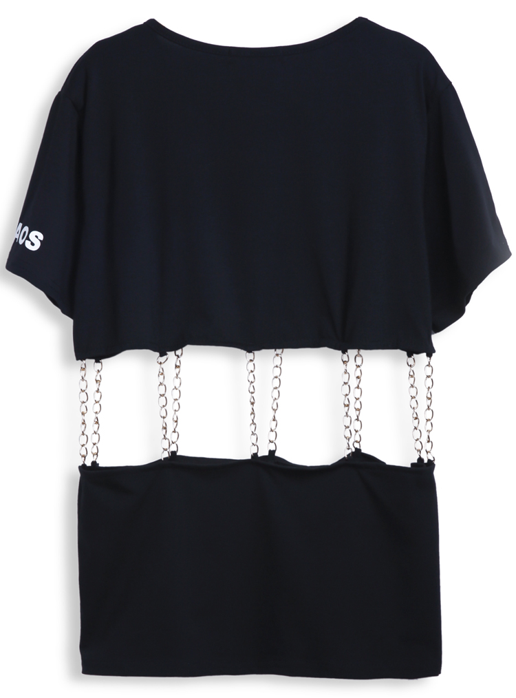 Black Short Sleeve TOKYO Print Contrast Chain T-Shirt - Sheinside.com