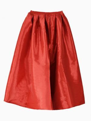 Red Midi Skater Skirt   Choies