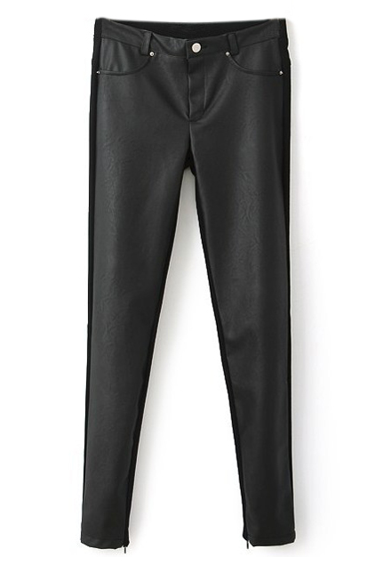 ROMWE | ROMWE Montage PU Skinny Black Leather Pants, The Latest Street Fashion
