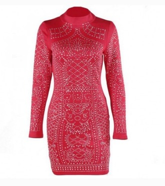 dress red dress red night dress nightwear studs studded studded dress bodycon dress sexy formal dress formal