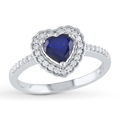 Kay - Sapphire Heart Ring 1/5 ct tw Diamonds 10K White Gold