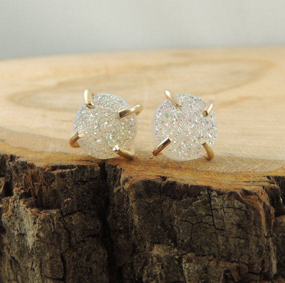 White Druzy & Recycled 14k Gold Earrings by PointNoPointStudio