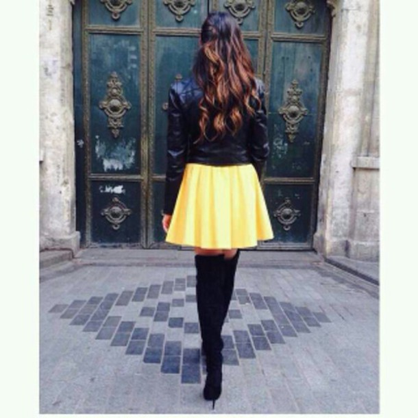 skirt yellow bright pleated
