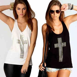 top debardeur black or white noir blanc croix