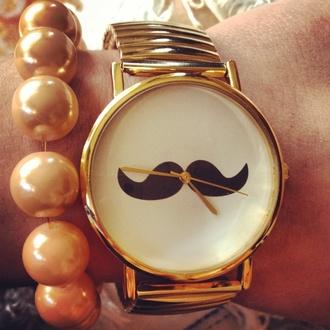 jewels watch gold watch fashion sweden lovely sweet moustache
