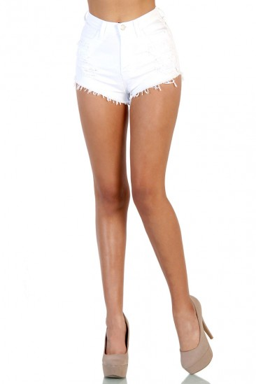 LoveMelrose.com From Harry & Molly | High Waisted Shorts - White