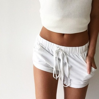 shorts loose white short cute white shorts minimalist elastic white shorts cute all white everything