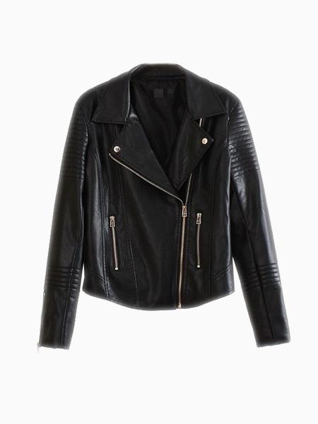 Quilt Detail Leather Jacket | Choies