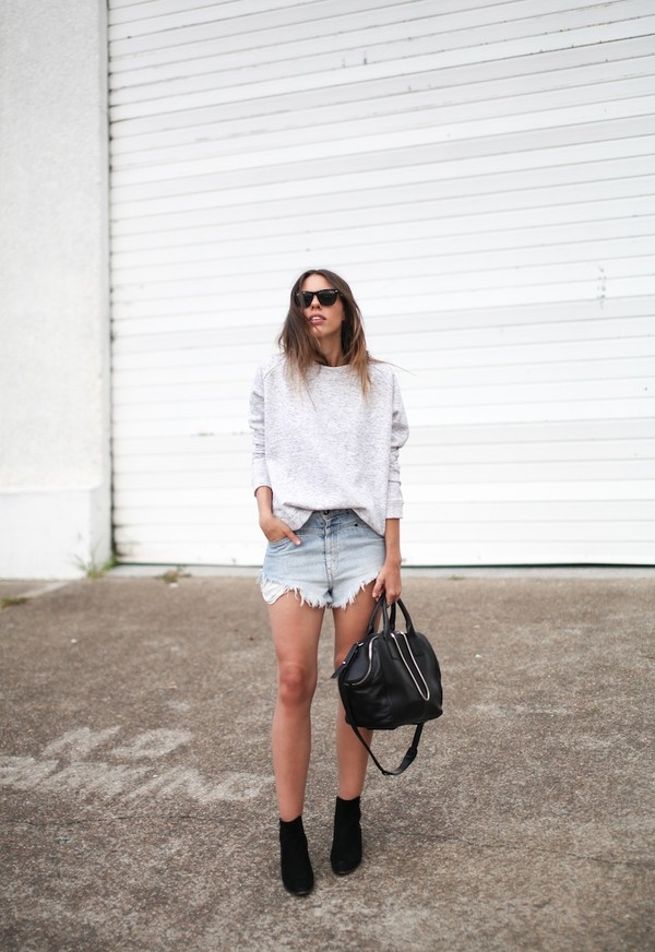 modern legacy sweater bag sunglasses distressed denim shorts grey sweater