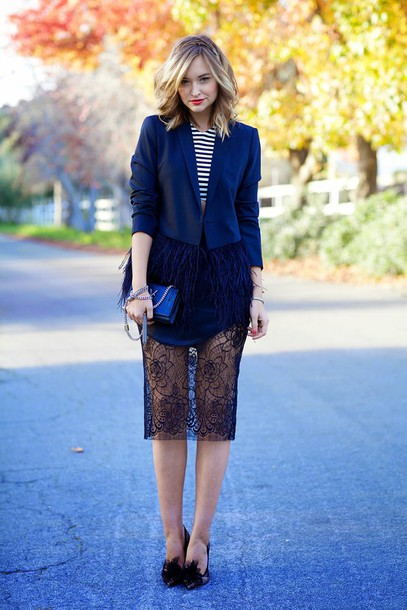 late afternoon blogger navy feathers stripes lace skirt jacket skirt shoes bag