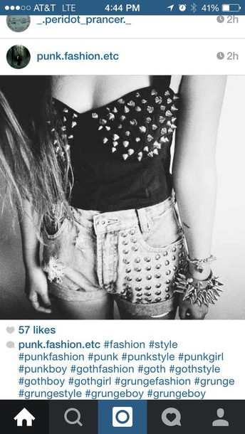 tank top studs black top denim shorts spikes spikes and studs edgey edgy punk shorts
