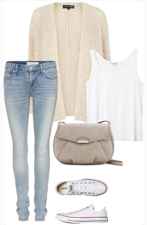 pants jeans cardigan purse converse shoes tank top top t-shirt