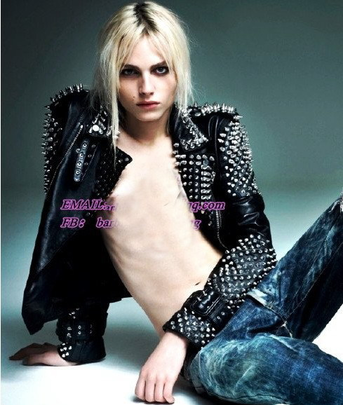 Punk women clothing 2013 Studded Leather Jacket Motorcycle Jacket Spike shoudler leather blazer rivet coat ruffles FREE DHL-in Leather & Suede from Apparel & Accessories on Aliexpress.com