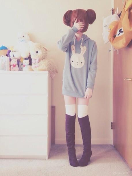 sweater bunny jacket boots kawaii bear kawaii outfit lovely cute pastel bunny hoodie pastel hoodie pastel goth
