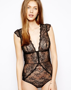 Oysho | Oysho Lace Sleeve Body at ASOS