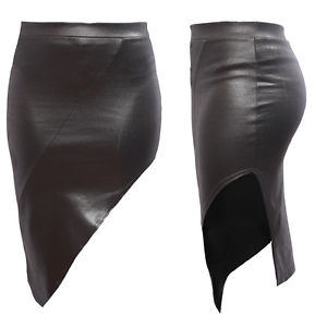 Womens Assymetrical Open Slit WET Look Faux Leather PVC RIB Detail Party Skirt | eBay