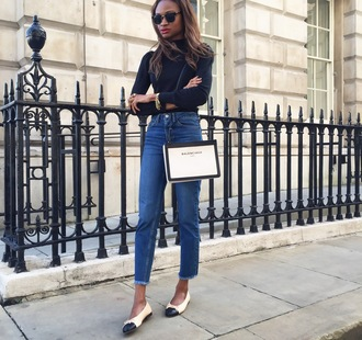 symphony of silk blogger jeans sweater shoes bag black turtleneck top frayed jeans blue jeans frayed denim white bag balenciaga bag balenciaga shoulder bag top black top turtleneck long sleeves ballet flats flats fall outfits