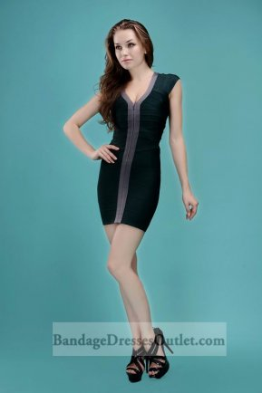Deep V Neck Sleeveless Front Zipper Dark Green Bandage Dress [Front Zipper Dark Green] - $155.00 : Cheap Bandage Dresses Online, Wholesale Price Bandage Dresses Outlet