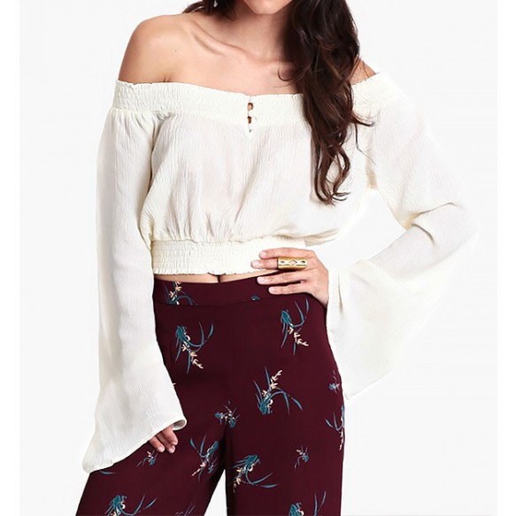 Off Shoulder Cropped Peasant Blouse In Crease Finish at Style Moi